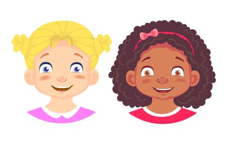 Girls character set. Emotions of children face. Girl face vector illustration