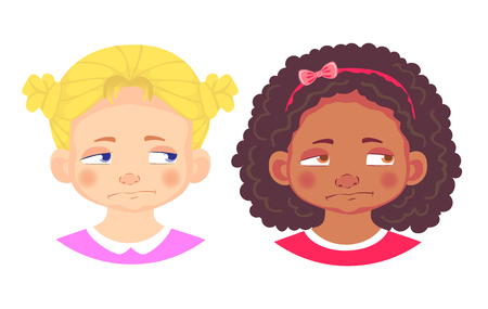 Girls character set. Emotions of children face. Girl face vector illustration  イラスト・ベクター素材