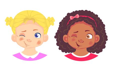 Jeu de caractères de filles. Les émotions du visage des enfants. Illustration vectorielle de visage de fille