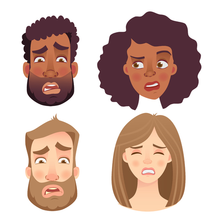 Face of man and woman. Emotions of woman face. Facial expression men illustration