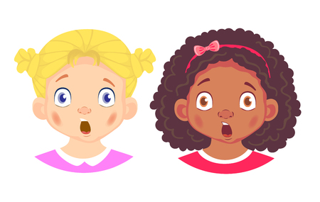 Girls character set. Emotions of children face. Girl face vector illustration