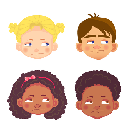 Girls and boys character set. Head icon. Face vector illustration  イラスト・ベクター素材