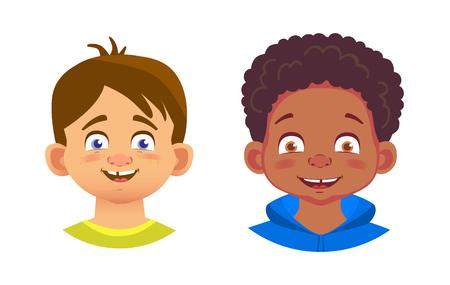 Boys character set. Emotions of children face. Face vector illustration