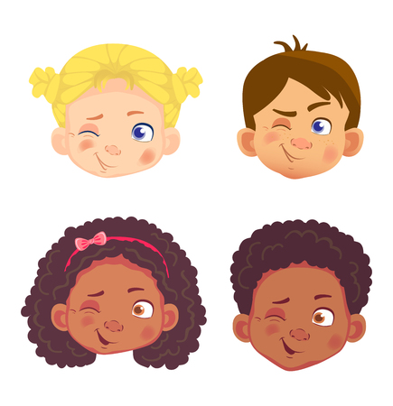 Girls and boys character set. Head icon. Face vector illustration Ilustração