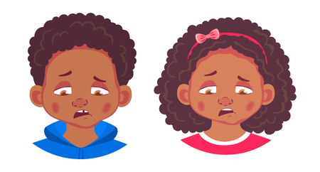 African american boy and girl icon. Portrait of african boy and girl illustrations