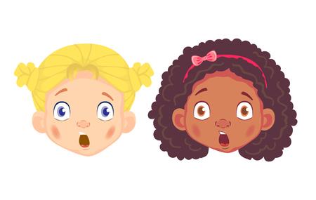 Girls character set. Head icon. Face  illustration Stock Photo