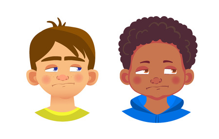 Boys character set. Emotions of children face. Face  illustration