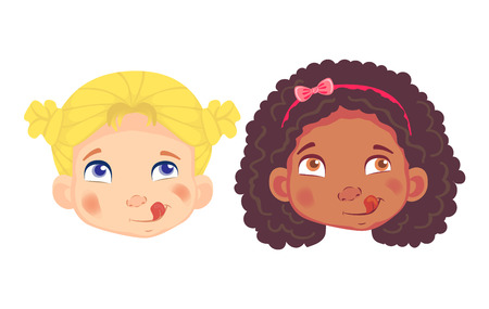 Girls character set. Head icon. Girl face vector illustration