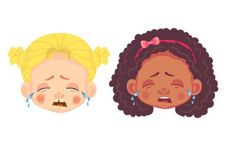 Girls character set. Head icon. Girl face vector illustration