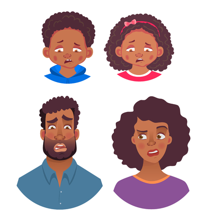 Emotions of african human. Facial expression. Head icon. Face vector illustration
