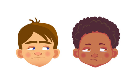 Boys character set. Head icon. Face vector illustration