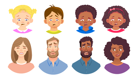 Emotions of human face set. Facial expression. Avatar  illustration