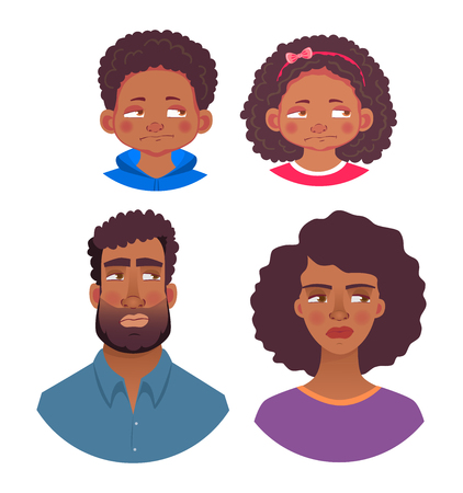 Emotions of african human. Facial expression. Head icon. Face  illustration
