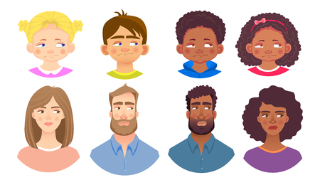 Emotions of human face set. Facial expression. Avatar vector illustration