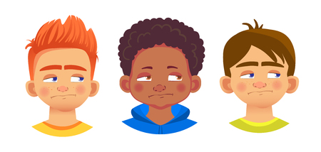 Boys character set. Emotions of children face. Face vector illustration