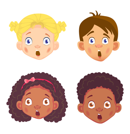 Girls and boys character set. Head icon. Face  illustration Stock Photo