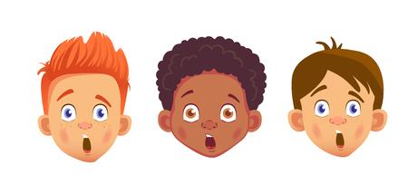 Boys character set. Head icon. Face  illustration