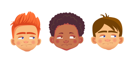 Boys character set. Head icon. Face  illustration