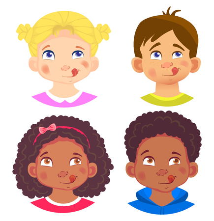 Girls and boys character set. Emotions of children face. Face vector illustration 版權商用圖片 - 127221568
