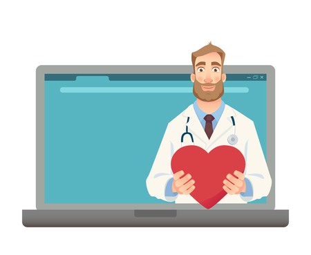 Online medical consultation. Medicine concept. Online doctor vector illustration
