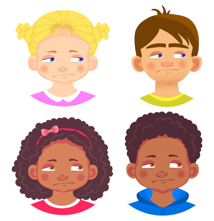 Girls and boys character set. Emotions of children face. Face vector illustration