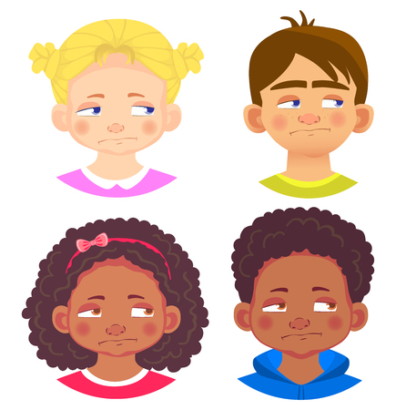 Girls and boys character set. Emotions of children face. Face  illustration