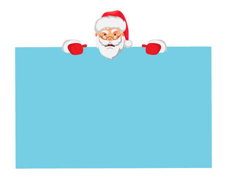 Santa Claus holding big banner. Christmas blank advertising banner. Santa Claus vector illustration. 일러스트