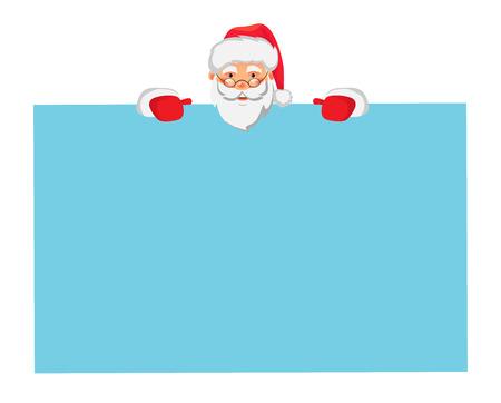 Santa Claus holding big banner. Christmas blank advertising banner. Santa Claus vector illustration. Illustration