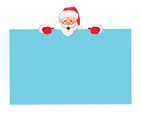 Santa Claus holding big banner. Christmas blank advertising banner. Santa Claus illustration.