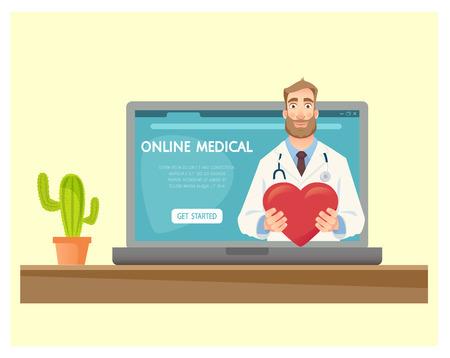 Online medical consultation. Medicine concept. Online doctor vector illustration