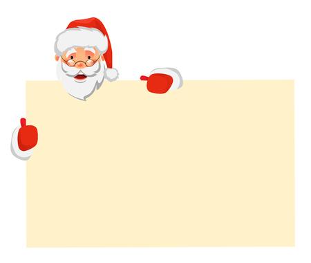 Santa Claus holding big banner. Christmas blank advertising banner. Santa Claus vector illustration.