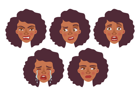 Face of Afro woman. Vector illustration set