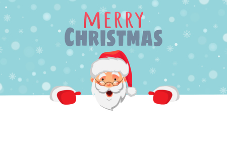 Santa Claus holding border. Christmas blank advertising banner. Merry christmas text. Face of Santa Claus in red hat vector illustration Çizim