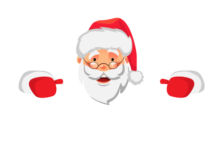 Santa Claus holding border. Christmas blank advertising banner. Face of Santa Claus in red hat vector illustration Çizim