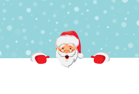 Santa Claus holding big banner. Christmas blank advertising banner. Happy New Year background. Santa Claus vector illustration.