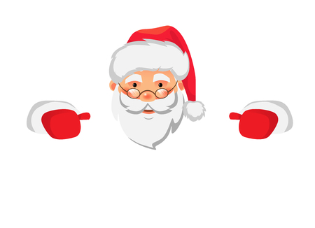 Santa Claus holding border. Christmas blank advertising banner. Face of Santa Claus in red hat vector illustration Ilustrace
