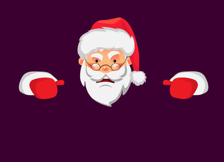 Santa Claus holding border. Christmas blank advertising banner. Face of Santa Claus in red hat vector illustration 일러스트