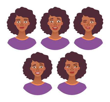 Portrait of african woman. Vector illustration set