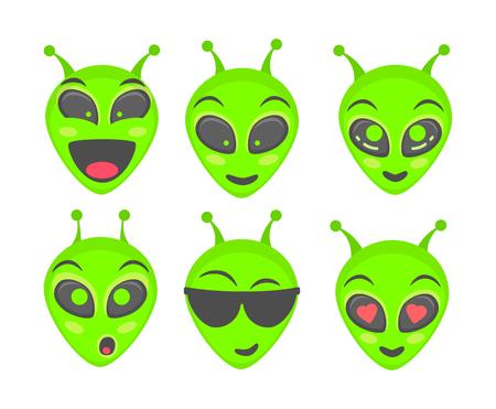 Alien face emoji. Alien green head. Humanoid vector illustration set Vektorové ilustrace