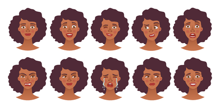 Face of african woman. Vector illustration set