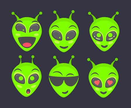 Alien head. Alien face emoji. Humanoid icon illustration set Stock Photo