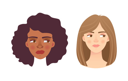 Portrait woman. Emotions of woman face. Vector illustration set