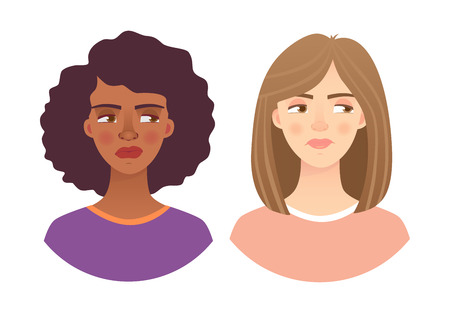 Portrait woman. Emotions of woman face.  illustration set Reklamní fotografie