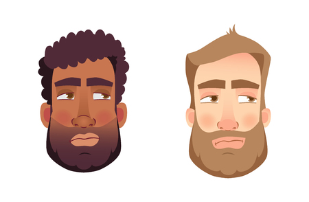 Portrait man. Emotions of man face. Vector illustration set