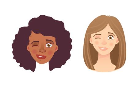 Portrait woman. Emotions of woman face. Vector illustration set Foto de archivo - 114166031