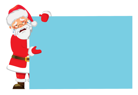 Santa Claus holding banner. Christmas blank advertising banner. Happy New Year background. Santa Claus illustration.