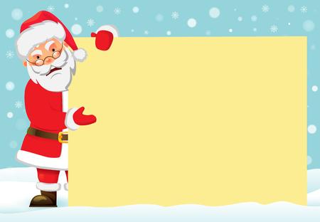 Santa Claus holding banner. Christmas blank advertising banner. Happy New Year background. Santa Claus vector illustration. 일러스트
