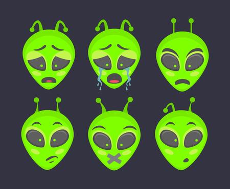 Alien head. Alien face emoji. Humanoid icon vector illustration set