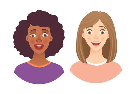 Portrait woman. Emotions of woman face. Vector illustration set