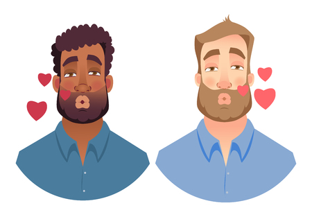 Portrait man. Emotions of man face. Vector illustration set